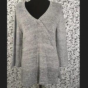 Isabella Bird Grey/White Blend Faux Wrap Sweater